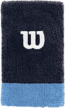 Wilson Muñequera de tenis, Ancha, Felpa francesa, Azul claro/azul oscuro/naranja, WRA733518: Amazon.es: Deportes y aire libre