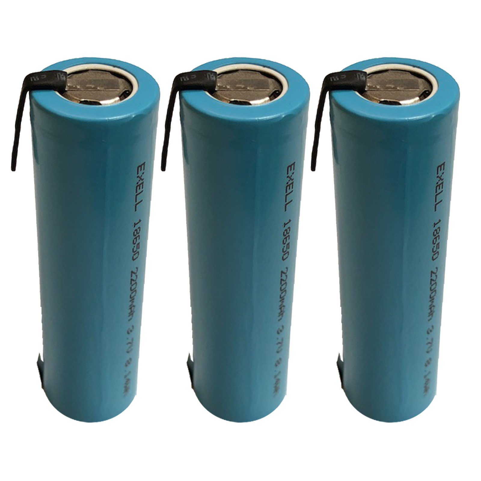 3x Exell 3.7V ICR18650 2200mAh Battery with Nickel Tabs For Solar Path Lights
