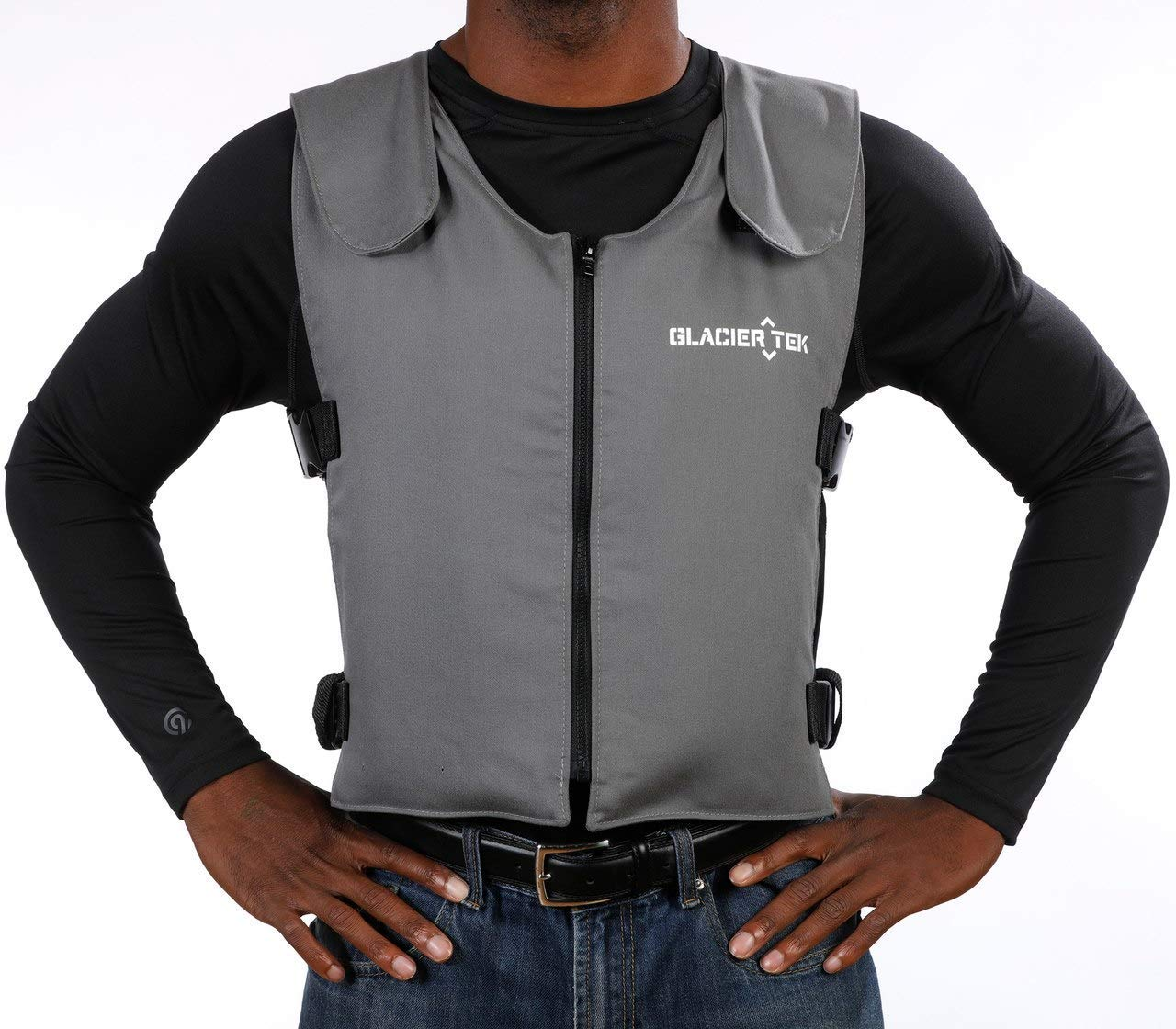 Glacier Tek Original Cool Vest with FR3 Flame-Retardant Banox Fabric and Nontoxic Cooling Packs Gray