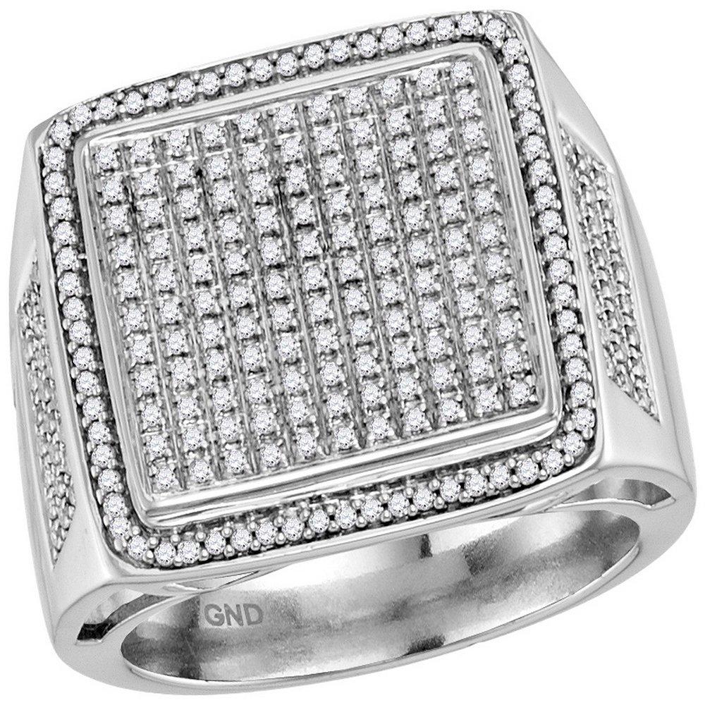 Jewels By Lux anello quadrato in oro bianco con diamanti per uomo