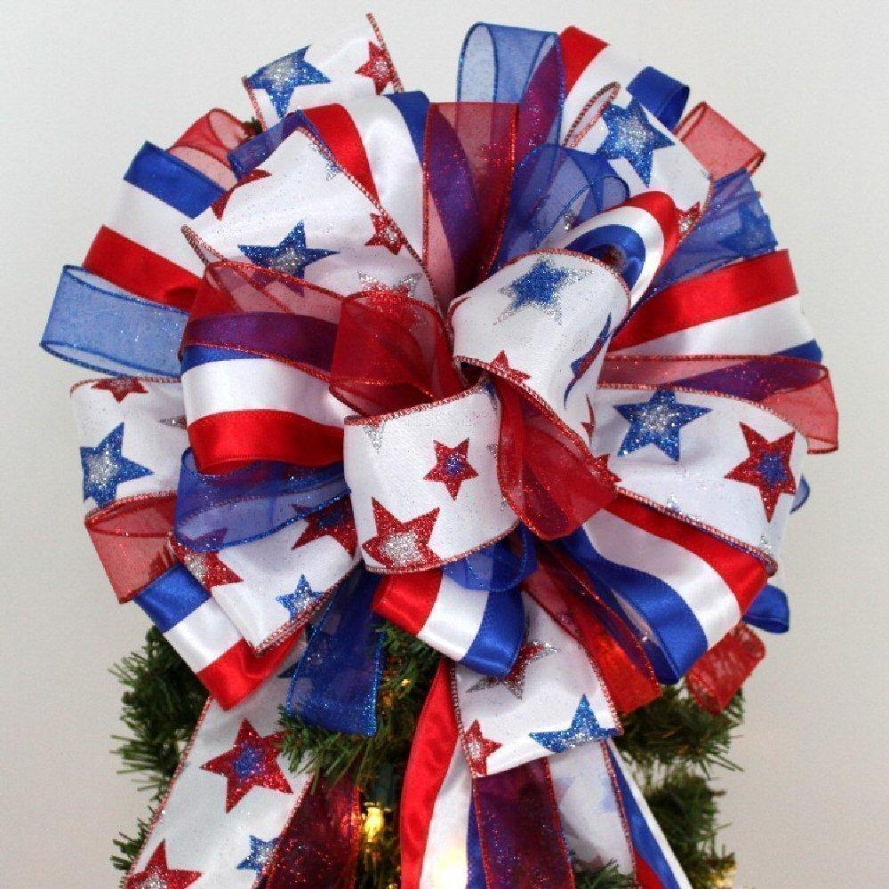 Patriotic Stars Stripes Christmas Tree Bow Topper Bow - 13