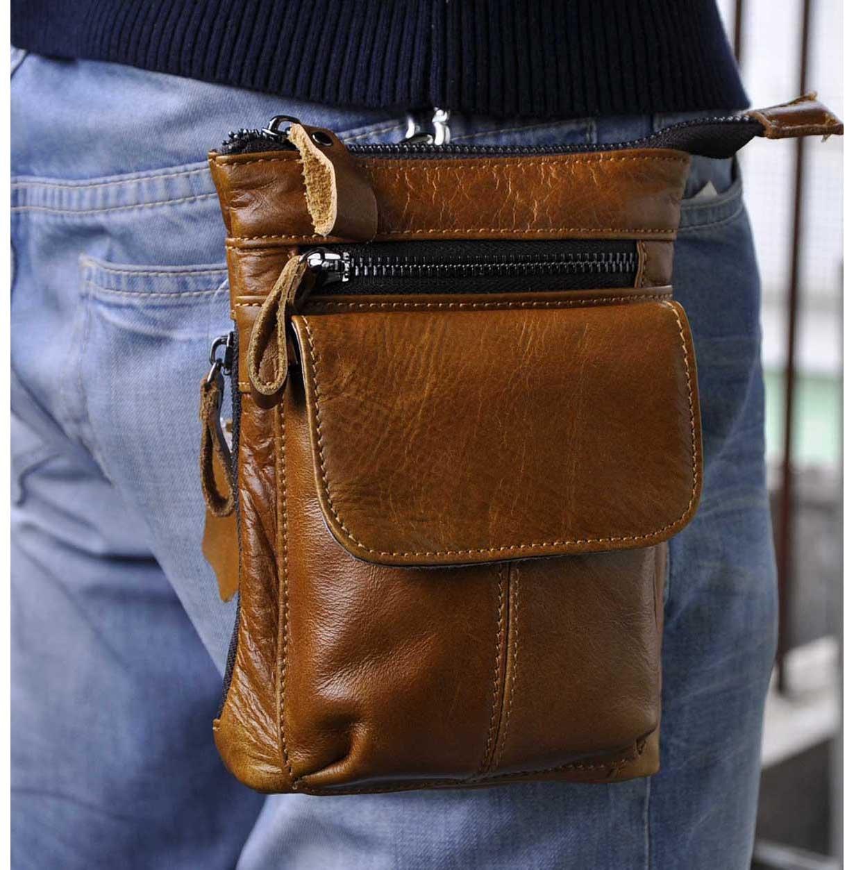 Le'aokuu Men Genuine Leather Small Messenger Bag Fanny Waist Bag Hip Bum Belt Pack Phone Pouch 611-1 (611-1 coffee-large size) 611-1 Large Size