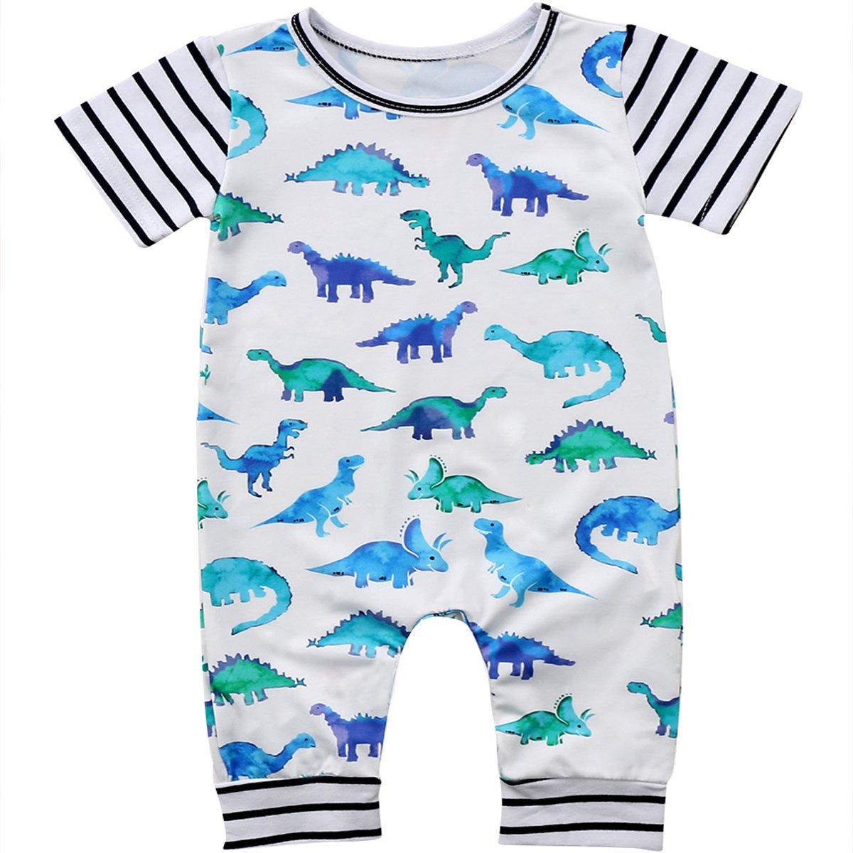 Annvivi Newborn Baby Boys Dinosaur Striped Romper Short Sleeve Bodysuit Outfits