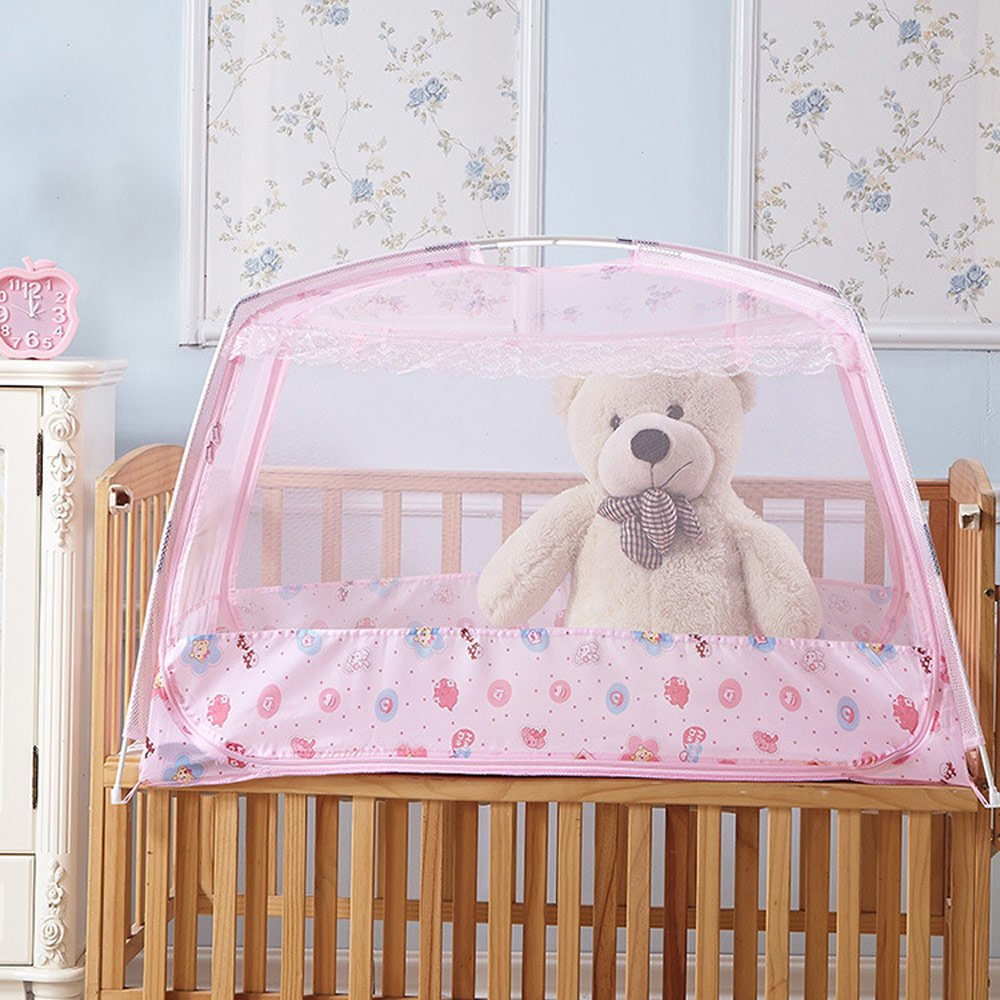 """RuiHome Baby Crib Tent Safety Net Portable Summer Beach Playpen for Toddler (26x43x26"""", Pink)"""