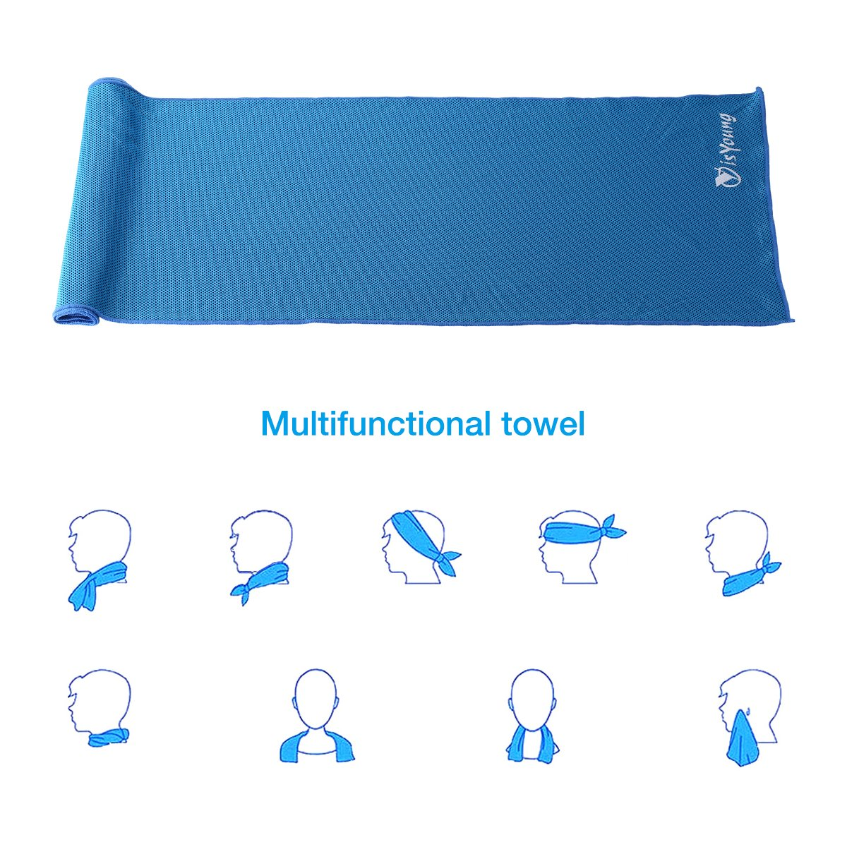 isYoung 2-pack Soft Instant Cooling Towel Mesh Fabric Chilly Pad for Neck, Head or Arm Prepared for Travel Camping Running Biking Hiking Gym Yoga Golf Working