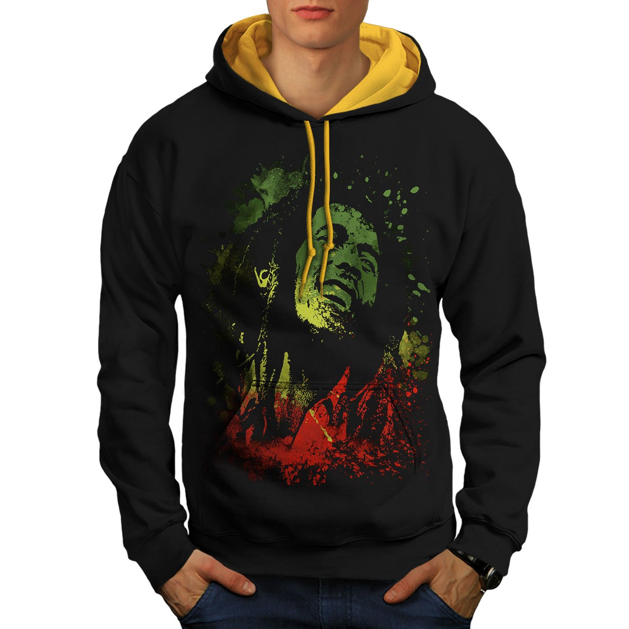 wellcoda Legend Bob Rasta Marley Mens Contrast Hoodie, Rasta Hooded JumperBlack (Gold Hood) M