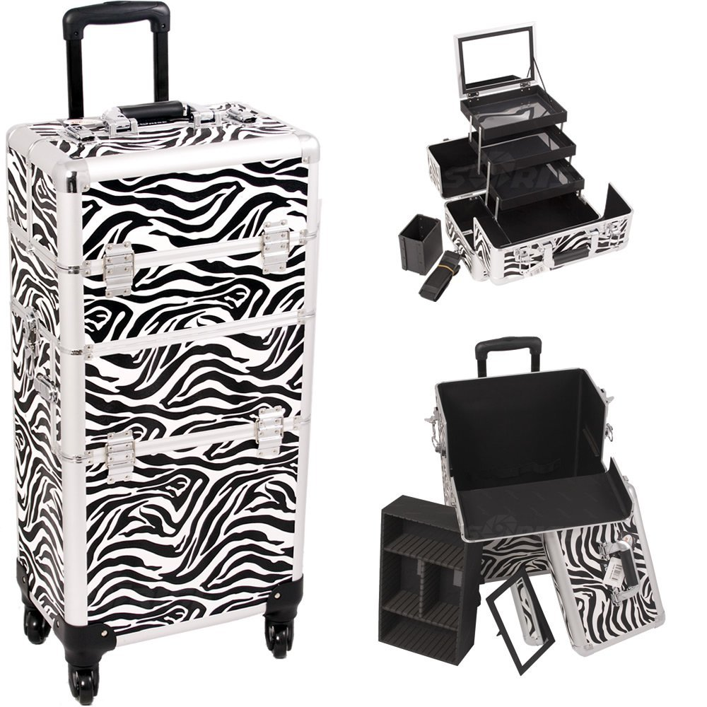 Sunrise Zebra 4-Wheels Professional Rolling Aluminum Cosmetic Makeup Craft Storage Organizer Case and 3-Tiers Extendable Trays with Mirror and Brush Holder