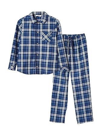 488925c571dfe Cyrillus Pyjama Flanelle garçon 12A Carreaux Bleu: Amazon.fr ...