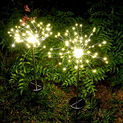 Garden Solar Lights Outdoor 2 Pack Solar Powered Decorative Stake Landscape Light Diy Flowers Fireworks Stars For Walkway Pathway Backyard Christmas