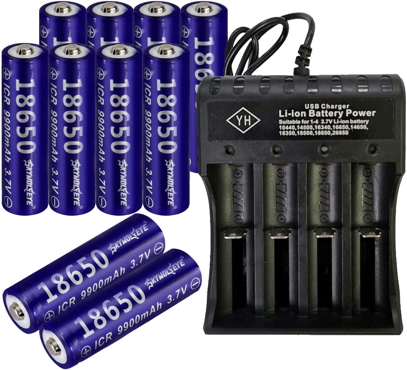 8 PCS of 18650-Rechargeable-Batteries,9900mAh,3.7V Li-ion,Button Top,65mmX18mm,With 1 PCS 2 Slots USB Universal Smart Battery Charger,For 18650 Flashlight headlight /& Electronic Tools