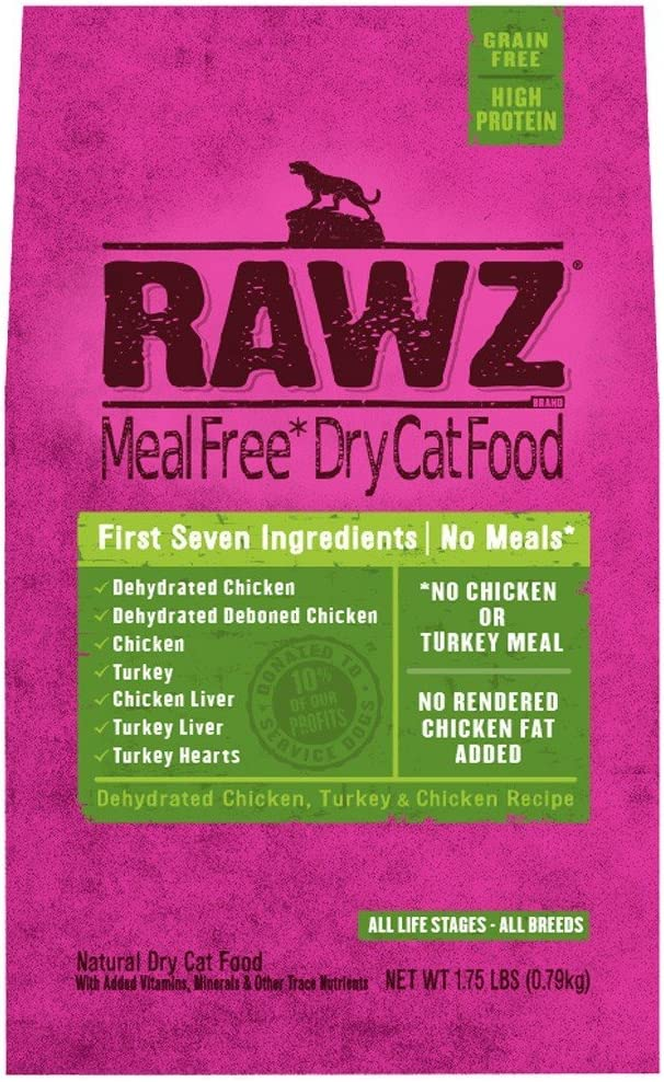 Rawzreg; Meal Free Dry Cat Food Dehydrated Chicken, Turkey Chicken Recipe (1.75 Lb)