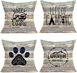 "Royalours Camping Happy Camper Pillow Covers Cotton Linen Rustic Wood Background Inspirational Words Lettering Throw Pillow Cases Cushion Cover Home Sofa Office Decor 18"" x 18"" Set of 4 (Wood Camper)"