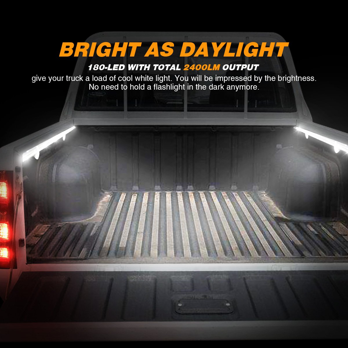 Ambother 2pcs 60cargo Truck Bed Lights Strip Flexible Light Bar 2 Way Switch For Car White Led