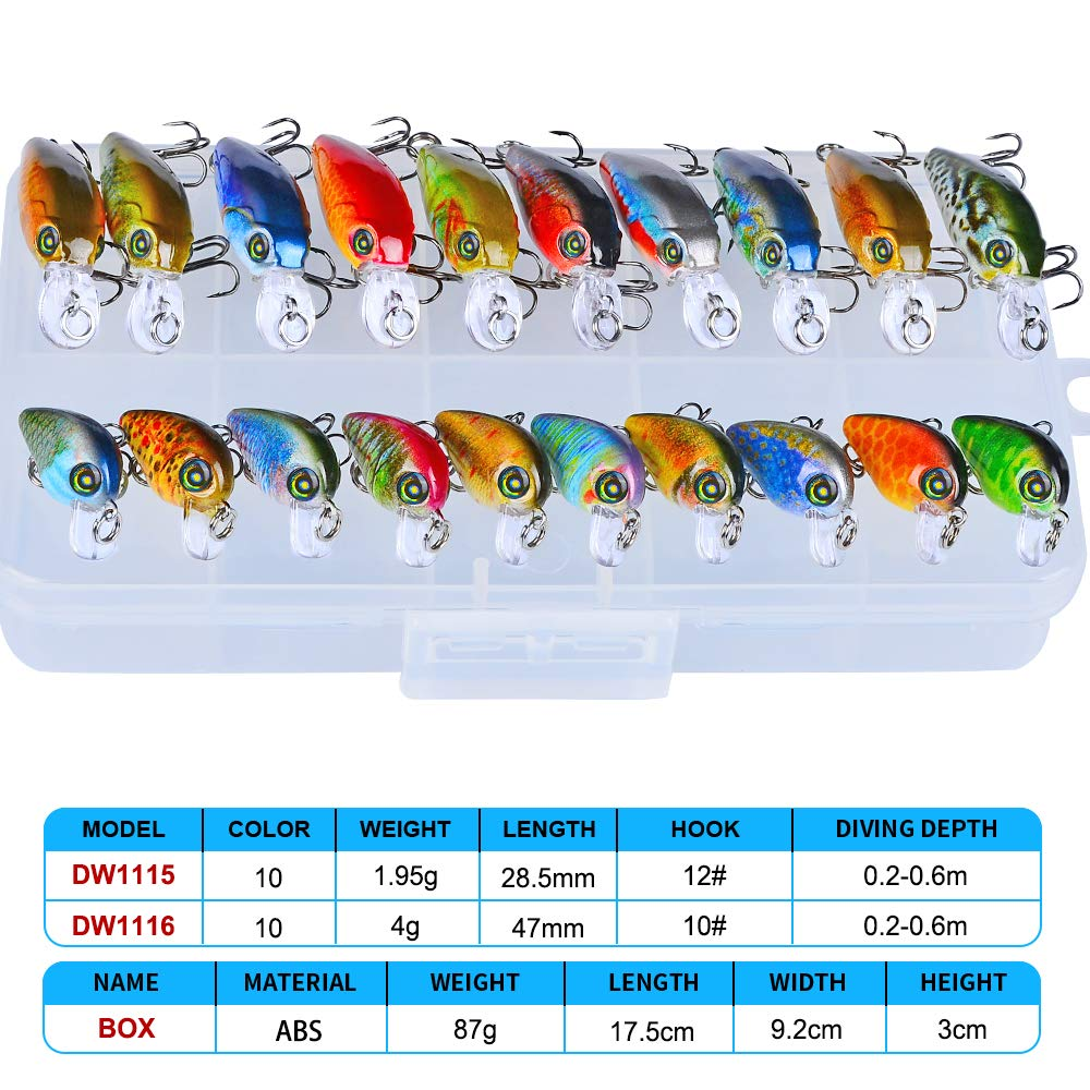 Fishing Lure Crankbaits Hard Lures Topwater Fat Boy for Bass Trout Salmon Wobble Treble Hooks 3D Eyes Rattle 1.8in Set of 8 by dukclyn
