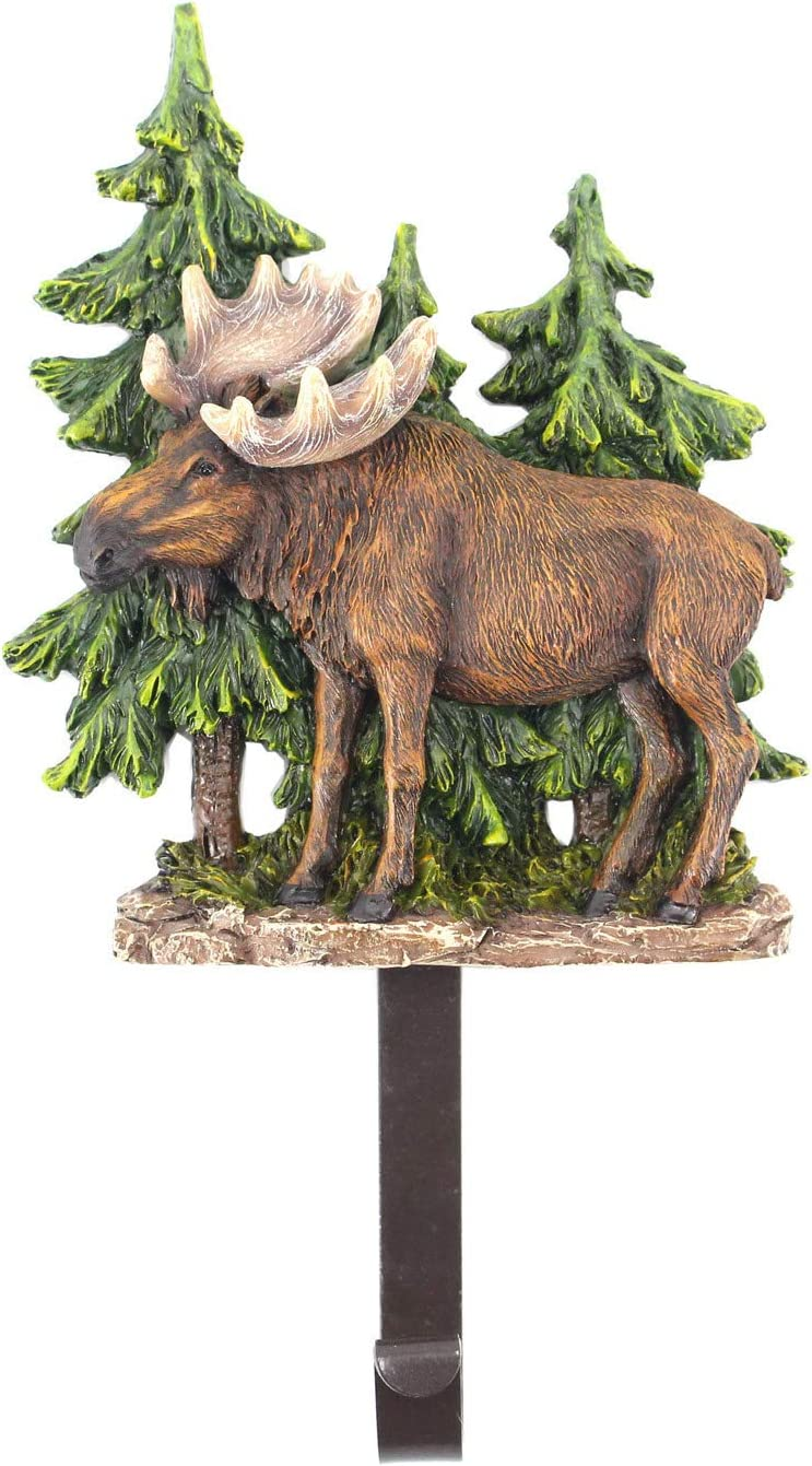Comfy Hour Holiday Animal Collection Resin Decorative Moose in Forest Single Clothes Metal Hook Wall Hanger