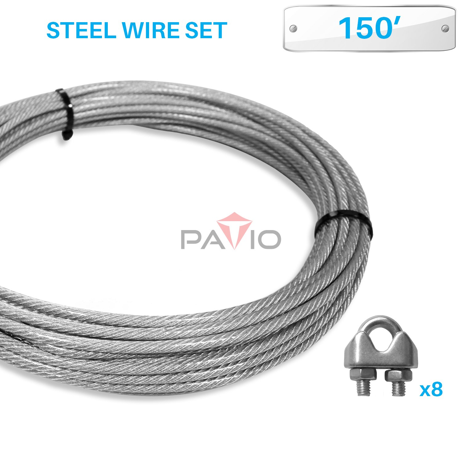 Patio Paradise Shade Sail Hardware Kit,150-Feet Wire Rope and 8 Pcs Clamps Coated Steel Cable 3/16'' 7x19 Stand Core