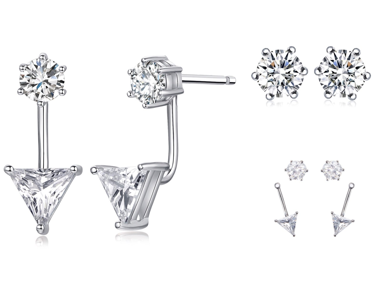 Sterling Silver Ear Jacket Round Triangle Two-way Cubic Zirconia AAA Quality Stud Earring Set''It's a circle'' gift