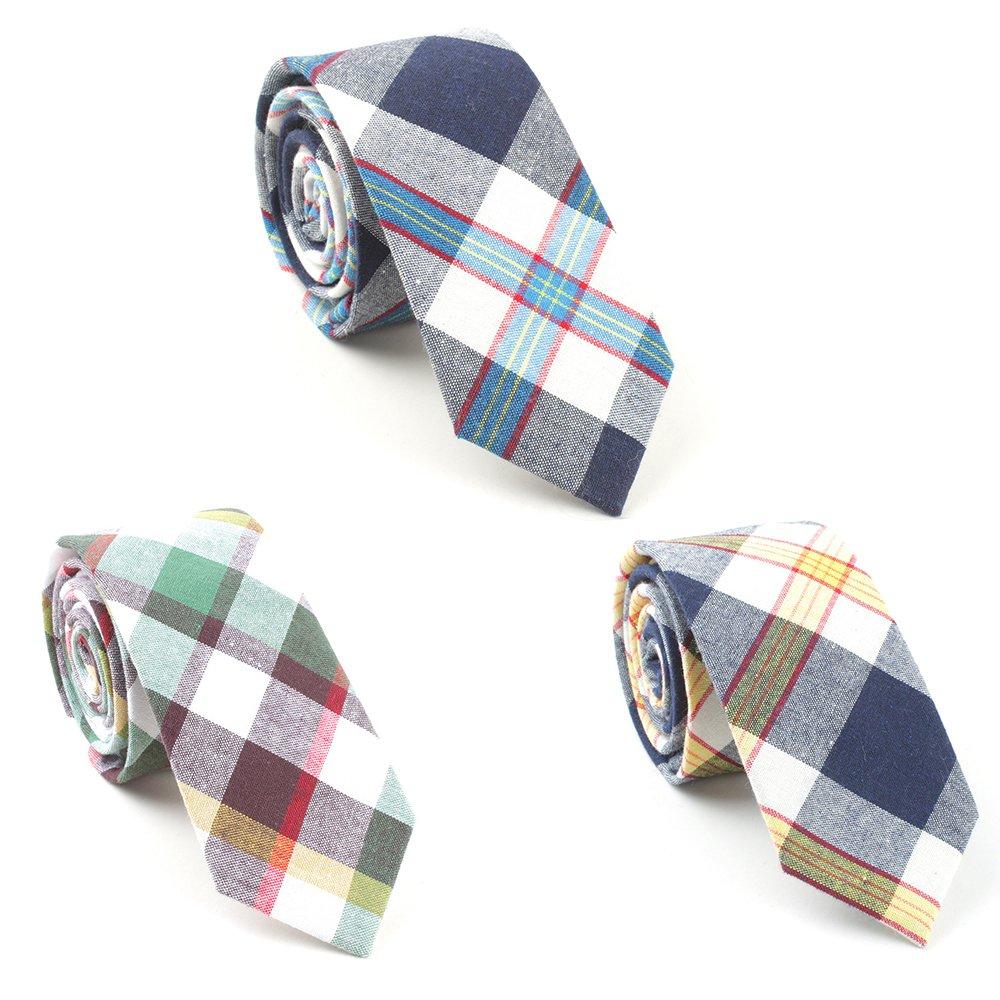 Mens Plaid Necktie Skinny Cotton Neck Ties 3 PCS/LOT