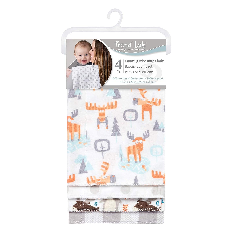 Trend Lab Scandi Cocoa Flannel Burp Cloth Set 4 Piece