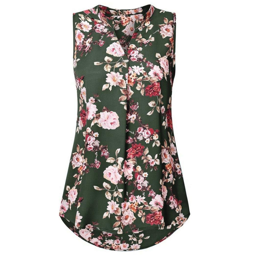 Nrealy Women Summer Soild Sleeveless Flower Print V Neck Daily Vest
