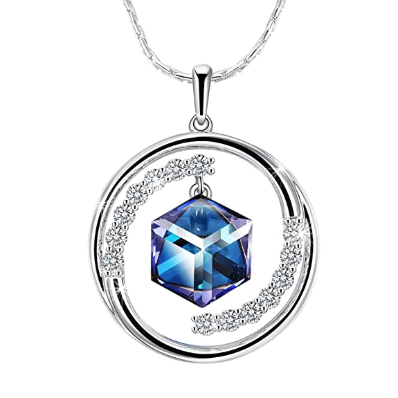 "iSuri Crystal Necklace, Love heart""Pendant Necklace Fashion Jewelry Made with Swarovski Crystals for Valentine's Day Gift. (Blue)"