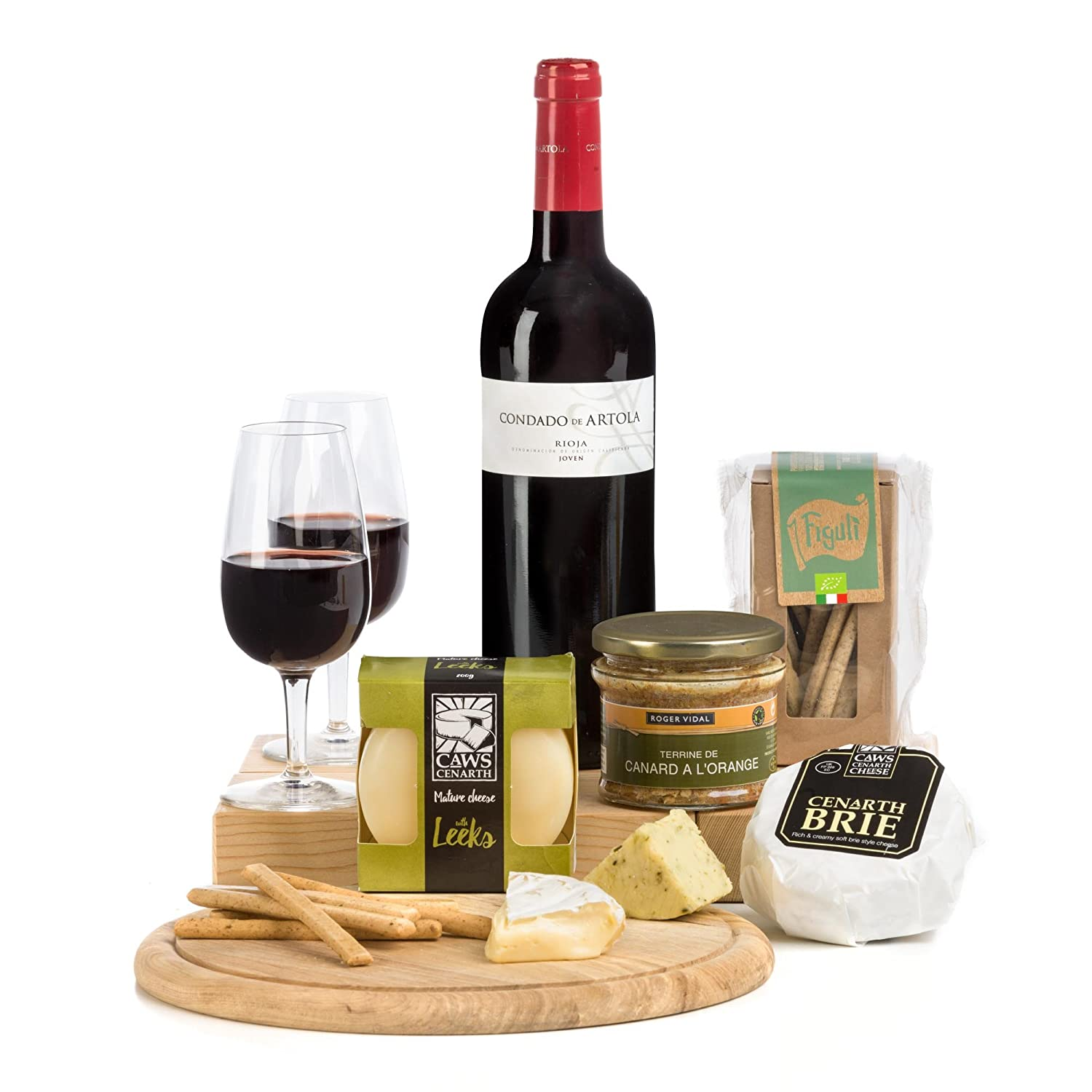 Rioja Red Wine, French Pate, Two Cheeses With Crackers Hamper
