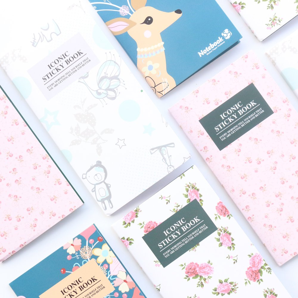 Domikee Cartoon self-Sticky Note pad Stationery, Candy Portable Memo pad Index Label Book, Packs of 4 SHUh company