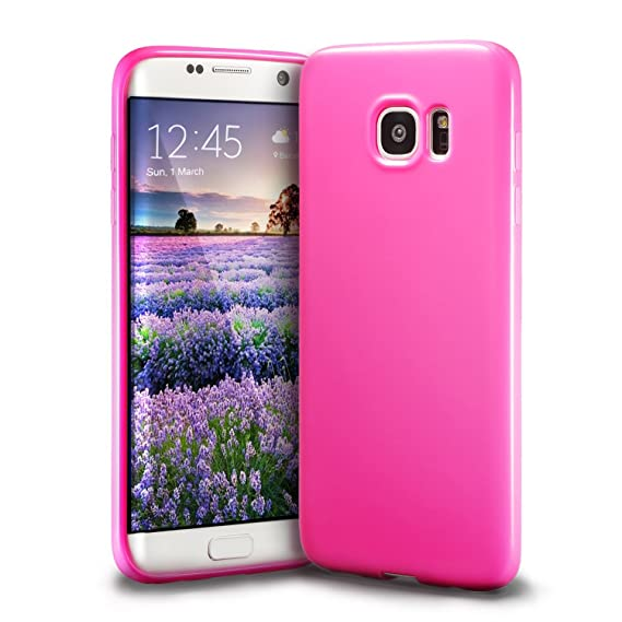 best service fc54a ee4d1 Galaxy S7 Edge Pink Case, technext020 Galaxy S7 Edge Case Silicone  Protective Back Cover Slim Fit Samsung Galaxy S7 Edge Bumper