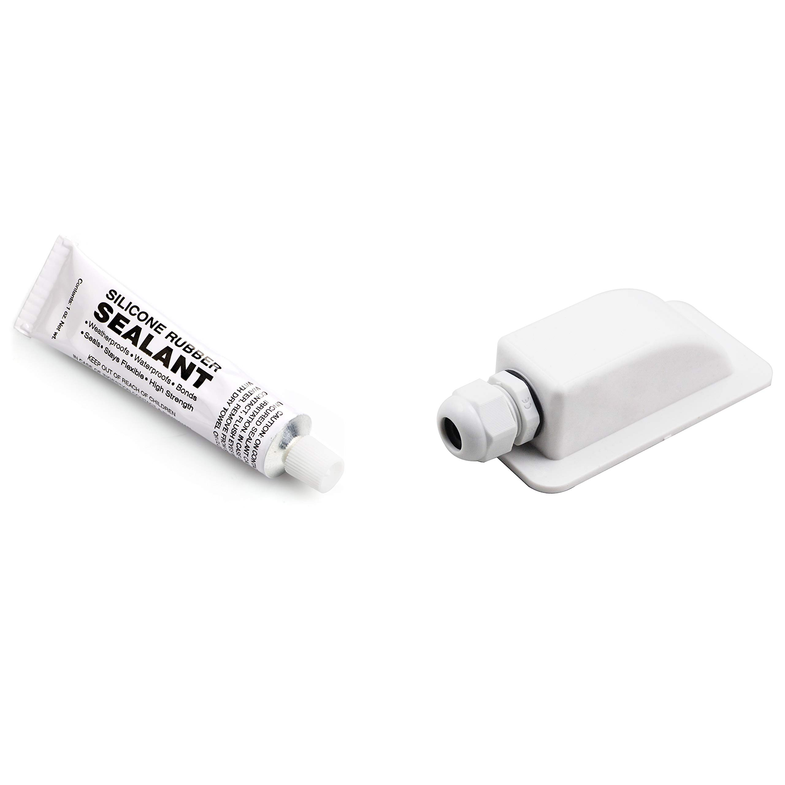 PROLINE Solar Weatherproof ABS Solar Double Cable Entry Gland with Sealant for RV, Boat or Wherever You Need a Water Tight Connection. (Single, White)