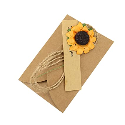 WSSROGY 10PCS Vintage Kraft Paper Greeting Cards With Handmade Dried Flower Hemp Rope Floral