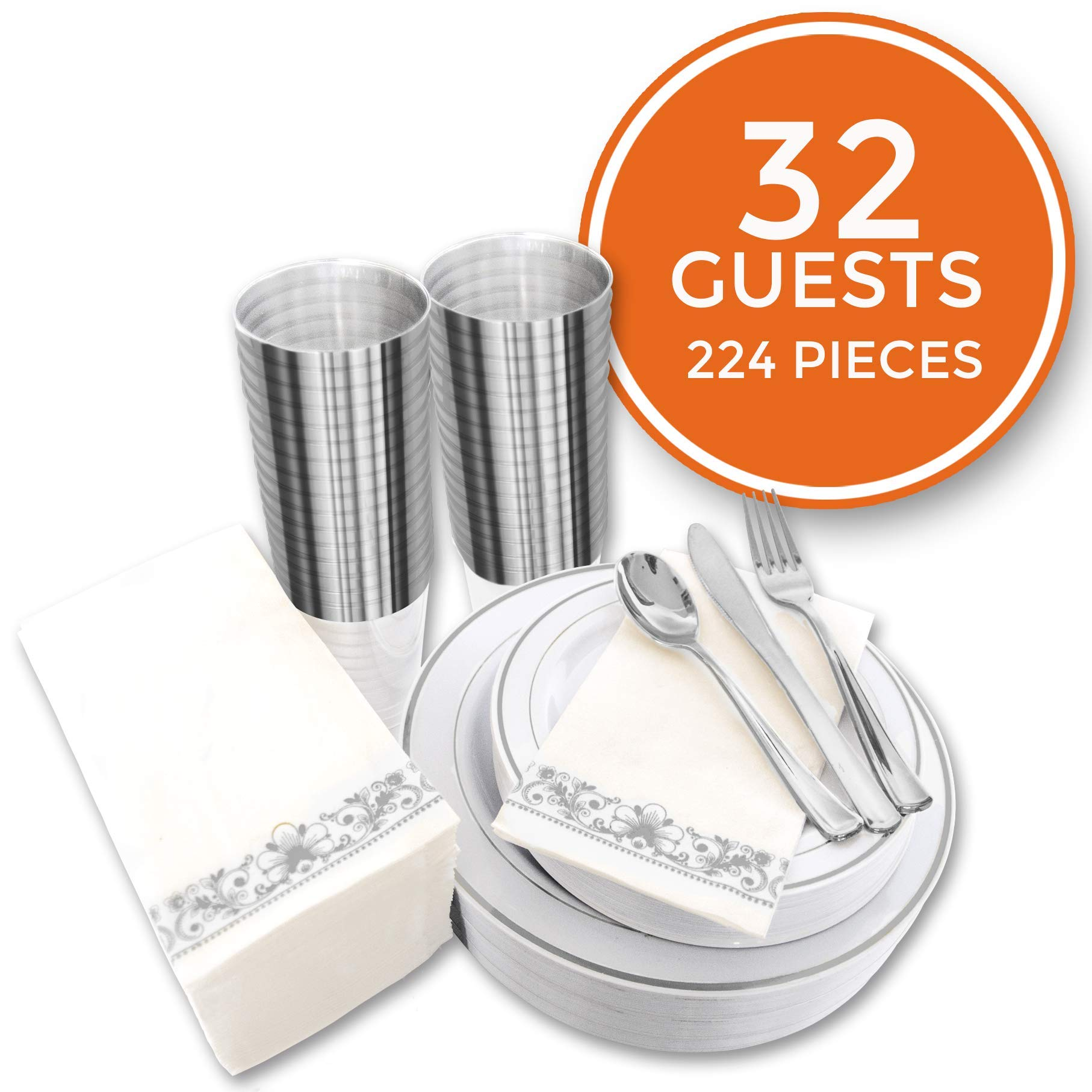 224 PCS Silver Plastic Dinnerware Set for 32 Guests. Silver Plastic Plates with Silver Cups Silverware and Napkins. Ideal for Parties, Weddings, Fancy & Elegant Dinners. Heavyduty Hard by Stellar Home & Living