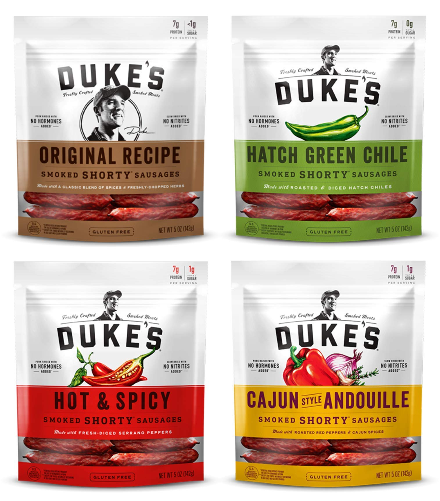 Duke's, Shorty Smoked Sausages Variety of 4 (Original, Hatch Green Chile, Hot & Spicy, Cajun Style Andouille) - 5 Ounce