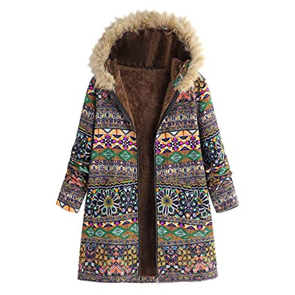 d19587d0e1 Image Unavailable. Image not available for. Color  YOMXL Retro Bohemian Printed  Puffer Jacket - Women Long ...