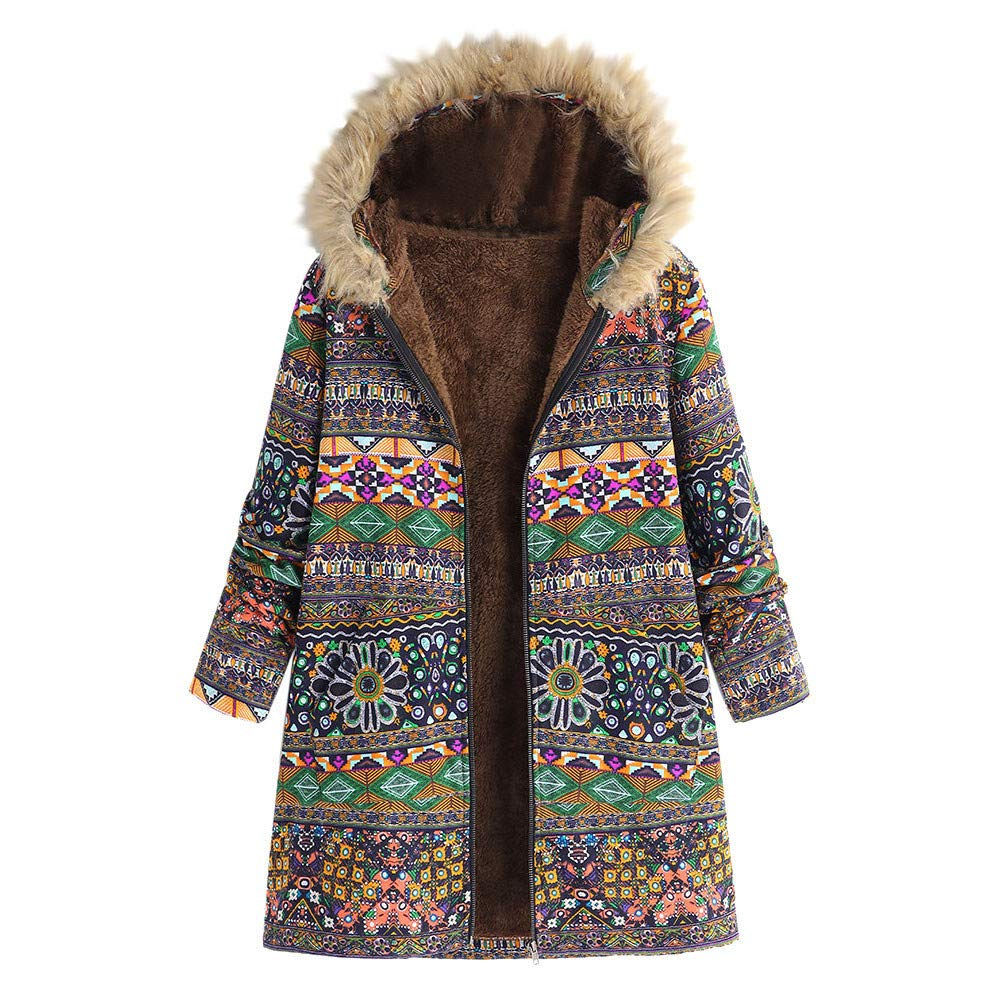iDWZA Fashion Womens Winter Warm Outwear Floral Print Hooded Pockets Vintage Oversize Coats(Green,US XS/CN S)