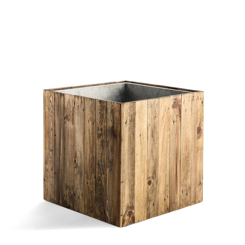 "Pflanzk/übel /""Woodline Cube/"" Dark Flame Wood Quadratisch Holz 44x43.5x43.5cm F472"