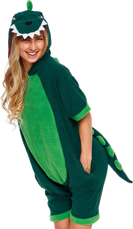 Silver Lilly Dinosaur Short Sleeve Animal Pajamas Plush Adult One Piece Summer Cosplay Costume