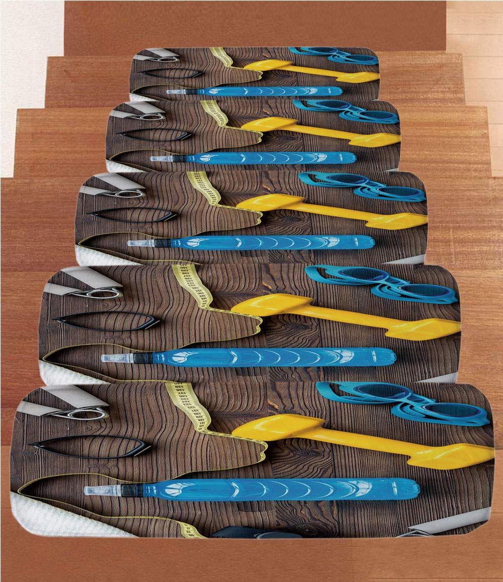 Non-Slip Carpets Stair Treads,Fitness,Preparing to Fitness Sports Equipment on Wood Board Concept Swimming Exercise Print Decorative,Multicolor,(Set of 5) 8.6''x27.5'' by iPrint (Image #1)