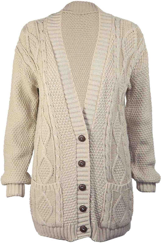 Sconosciuto Nuovo da Donna a Maniche Lunghe Pulsante Donna Aran Cavo Knit Cardigan Nonno