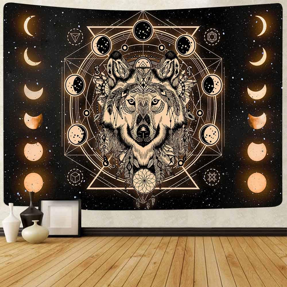 FEASRT Wolf and Moon Tapestry Moon Eclipse Dreamcatcher Tapestries Art Wall Hanging for Living Room Bedroom Home Dorm Decor 80×60 Inches GTLSAY269