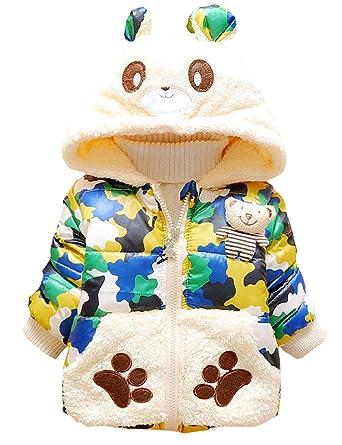 KKia Niñas abrigo oso de peluche invierno capucha: Amazon.es: Ropa y accesorios