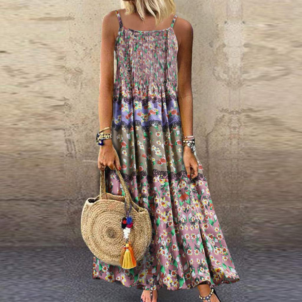 Lloopyting Women's V Neck Plain Dress Sleeveless Summer Dresses Print Breathable Loose Casual Short Sleeve T Shirt Dress by Lloopyting (Image #2)