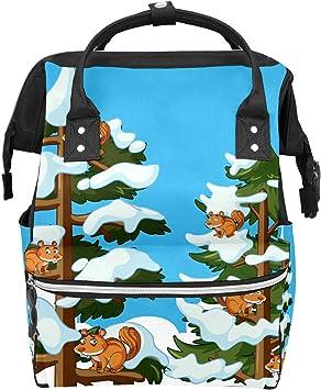 Ardillas escalada árbol en la escuela de invierno mochila de ...