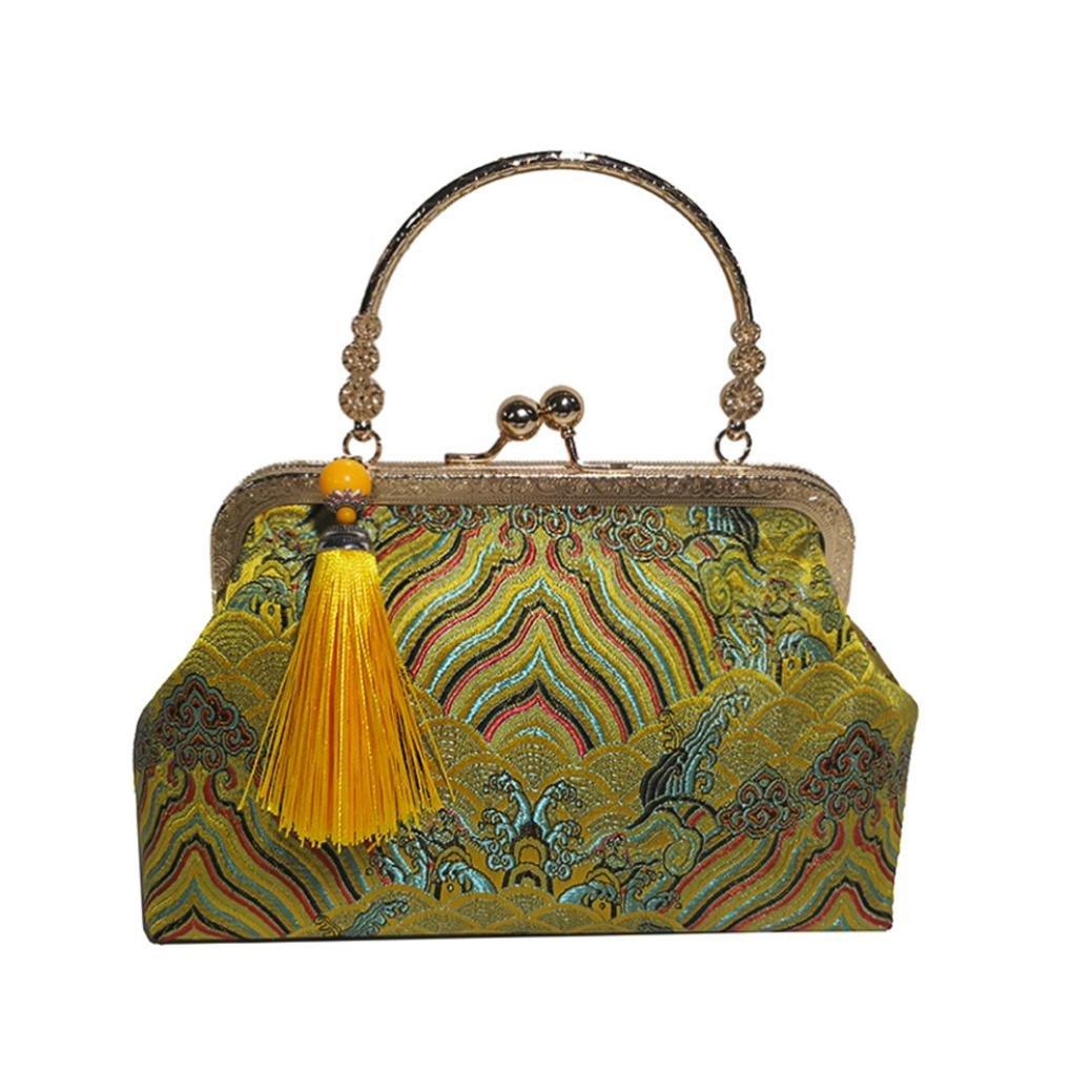 SanCanSn Tassel Clip Shoulder Bag ღ Women Girl Fashion National Style Crossbody Embroidery Bag (1PC, Yellow)