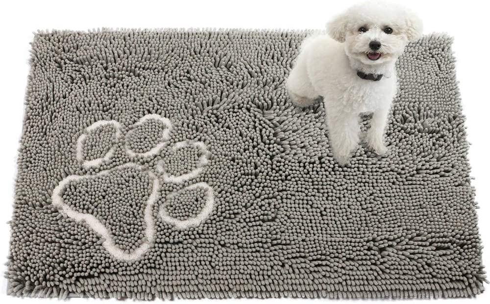 Pet Dog Mats Beds, Non Slip Pets Feeding Beds Mats Rugs for Food and Water,Door Mat for Dogs,High Absorbent Water and Dries Quickly,Grey,20x31Inch