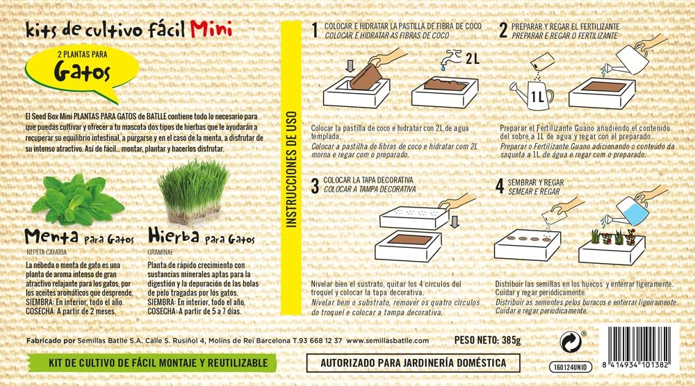 Huerto Urbano - Seed Box Mini Gatos - Batlle: Amazon.es: Jardín