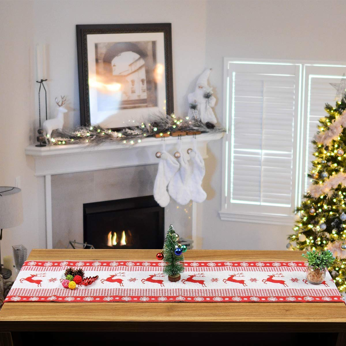 OldPAPA Tischl/äufer Weihnachten Leinen Tischdecke Tischl/äufer Weihnachten Elch Gedruckt Tischdecke Weihnachten Kreative Dekoration A