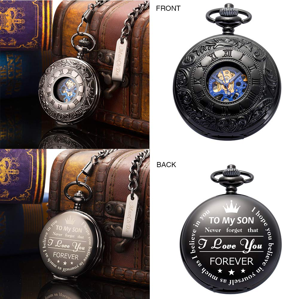 ManChDa Mechanical to My Son Double Cover Roman Numerals Dial Skeleton Personalized Engraved Pocket Watches with Gift Box and Chain Customized Customization Custom Engraving Gift for Son by ManChDa (Image #4)