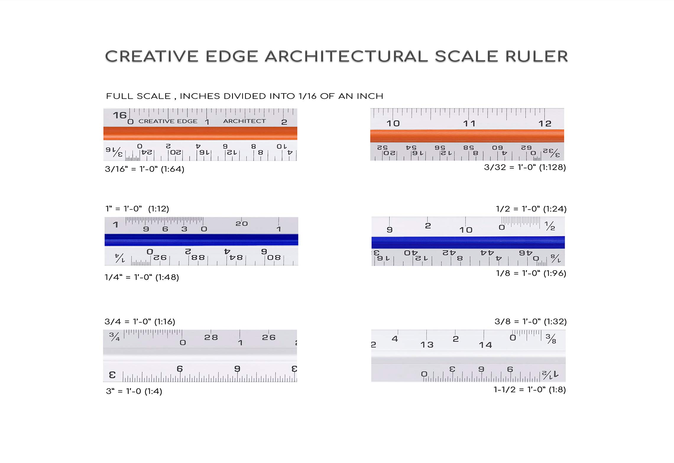 """Creative Edge Architectural Scale Ruler - Set of 3 Rulers 