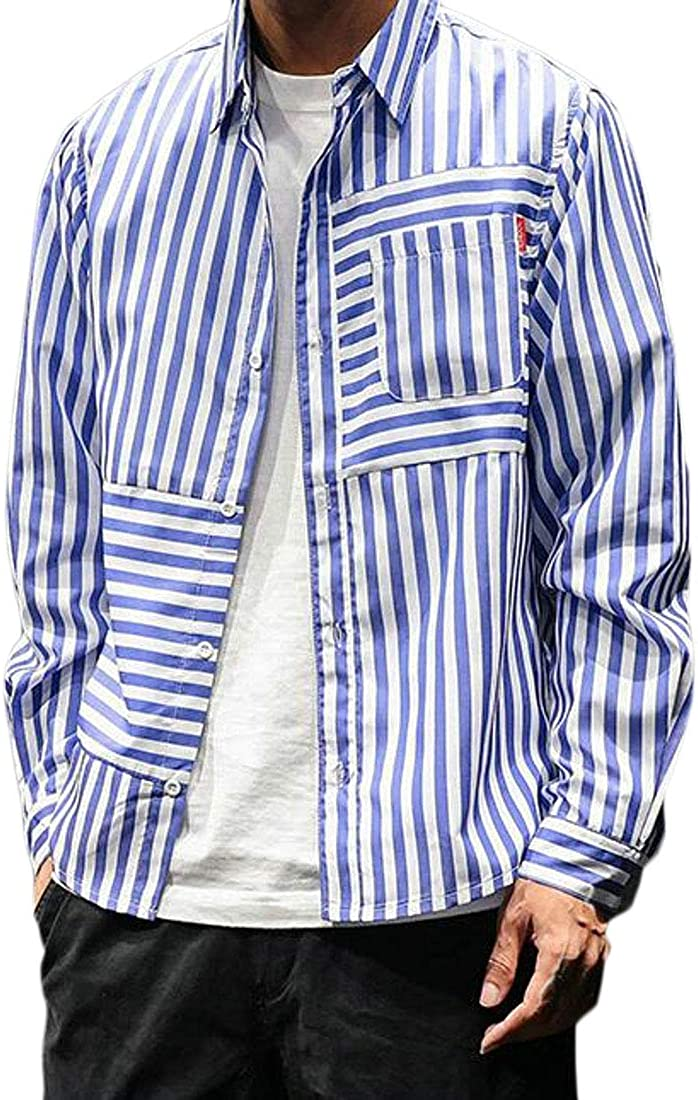 Jotebriyo Mens Pockets Loose Fit Button Up Casual Stripe Button Up Dress Shirt