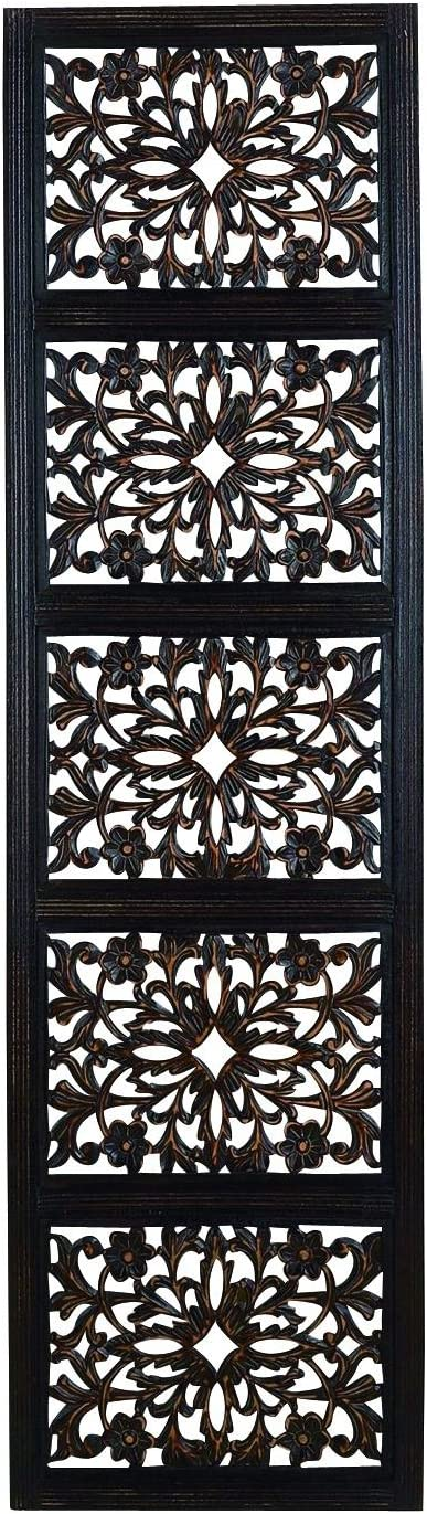 Deco 79 32661 Ebony Black Hand Carved Wood Wall Decor Sculpture